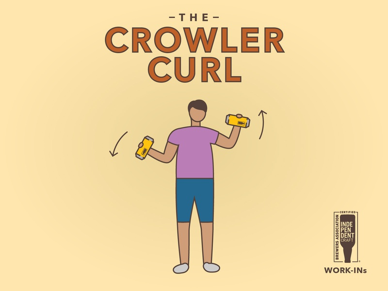 Independent Beer Work-Ins social post illustration series coronavirus covid-19 crowler curl independent brewing brewery craft beer exercise beer workout beer can