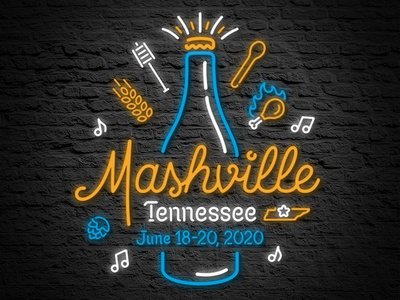 """""""Mashville"""" Tennessee Homebrewing Lockup brew brewer home beverages alcohol event homebrew con tennessee conference music country neon barley hops beer homebrewing brewing nashville"""