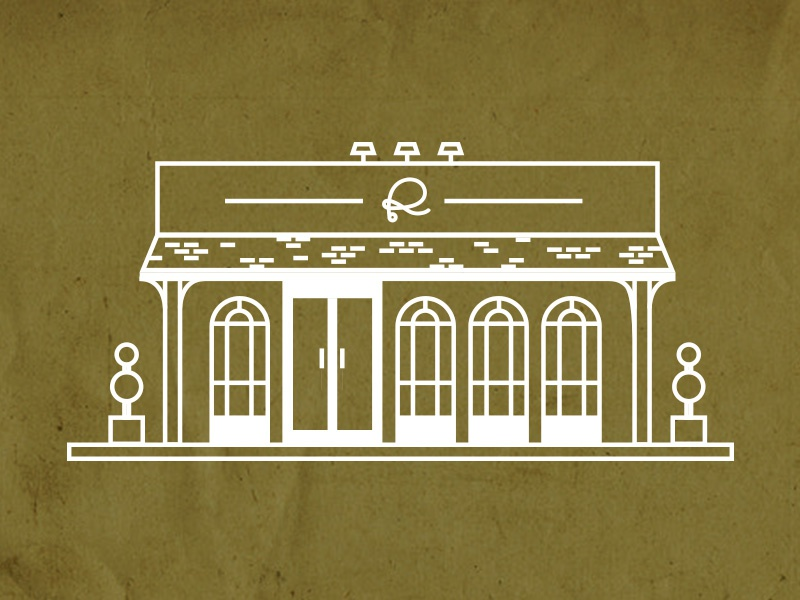 Rivers and Glen Store Front Illustration #2 drab green shop store line illustration