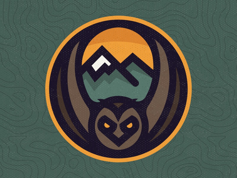The Great Owl brown orange map topography green mountains owl sticker