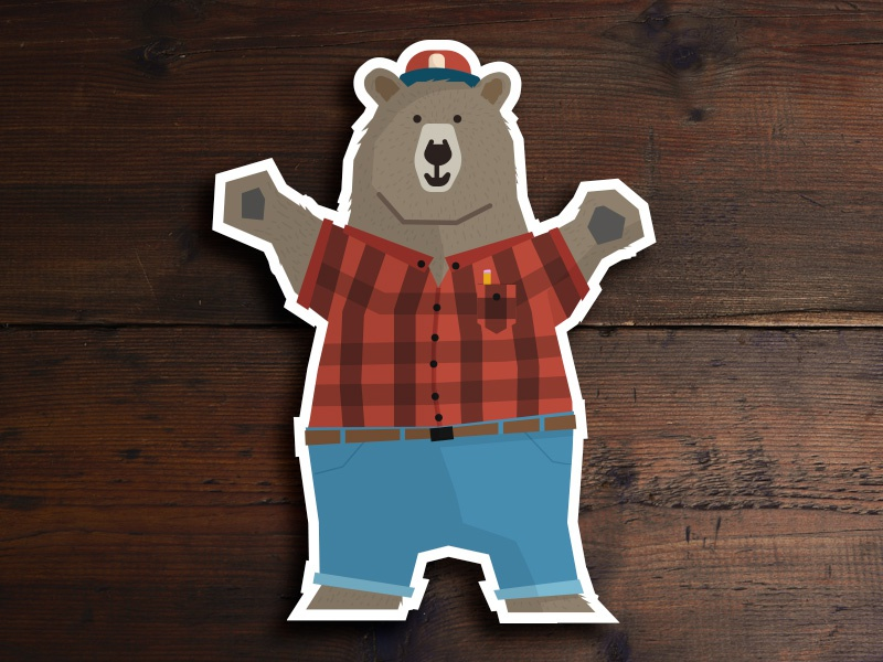 Bear Hug hug illustration vector flannel bear sticker