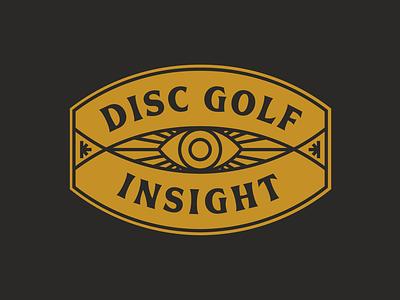 Disc Golf Insight Badge eye line illustration logobranding disc golf icon badge