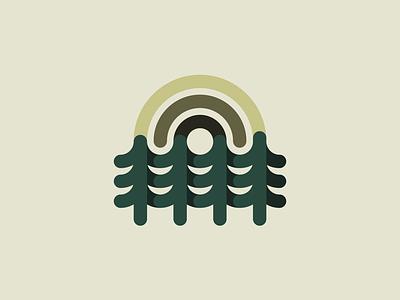 Nature Exploration .1 thicklines icon illustration badge mark logo sun trees nature