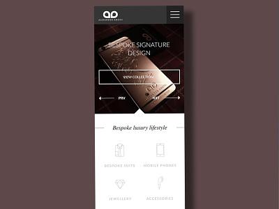 Luxury brand mobile site concept clean design ui design icons luxury mobile ui