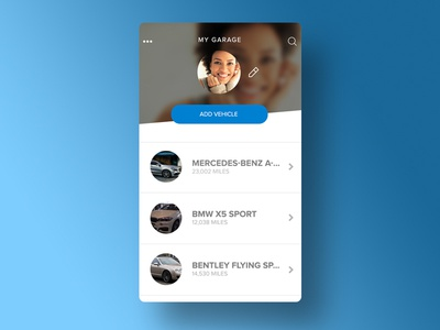 My Garage App Concept iconography flat design garage car app list