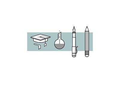 Education Icon set greyscale icons education