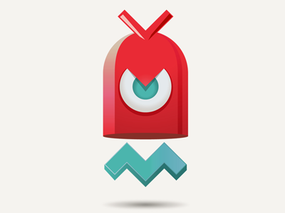 Cm 3d 3d illustration logo branding robot chaotic moon