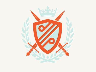 Duel Purpose logo branding duel purpose orange blue shield sword crest