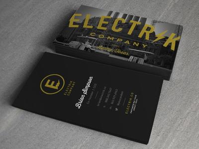 Electrik Businesscards business cards logo branding electric script bold power plant retro vintage