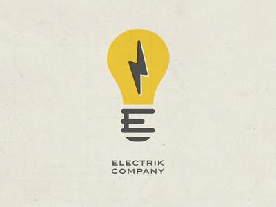 Electrik Company Logo Retro logo retro branding electric light bulb bolt company