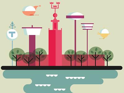 Stockholm 3014 illustration digital city stockholm retro
