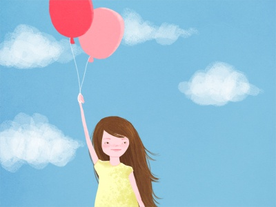 Girl with balloons illustration digital drawing illustration friday