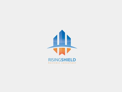 Rising Shield Logo Template vector branding consultant business building rise template logo shield rising