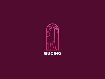Qucing Logo Template bar restaurant shop cafe company modern retro vintage design graphic vector branding cute pet light pylon door cat qucing