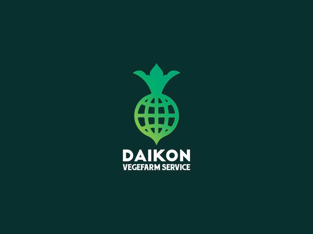 Daikon Logo Template bar restaurant shop cafe company modern retro vintage design graphic vector branding globe service farm farming vegetable radish turnip daikon