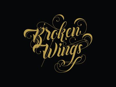 Broken Wings Logotype decorative lettering lettering logo design logotype logo vintage typography vector branding