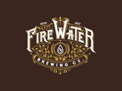 Firewater Brewing Co Logo. label design calligraphy lettering wine label design wine labels decorative lettering vintage logo typography illustration vector branding