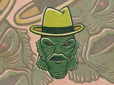 Uncle Gilbert Illustration vector branding illustration logo vintage creature from the black lagoon character uncle gilbert the munsters t-shirt design halftone def halftones halftone