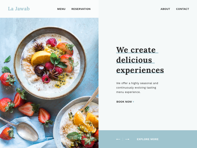 La Jawab Restaurant Landing Page Design studio reservation menu early access invision invision studio la jawab landing page restaurant
