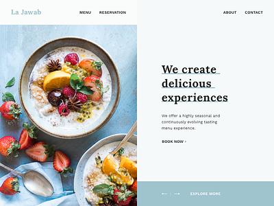 La Jawab Restaurant Landing Page Design studio reservation menu early access invision invision studio la jawab landing page restaurant