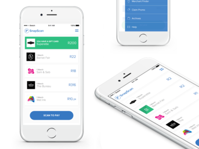 SnapScan ui ux android iphone flat payment app mobile shop retail scan money pay fintech payment payments snapscan