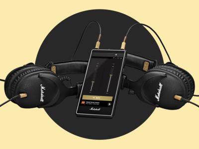 Volume Up music album concert yellow dark mode black equalizer headphones marshall music app google android hardware music volume