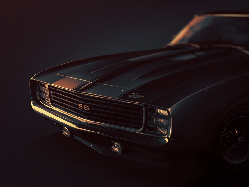 1969 Cheverolet Camaro ZL1 camaro car muscule photoshop 3d light sunset dark old