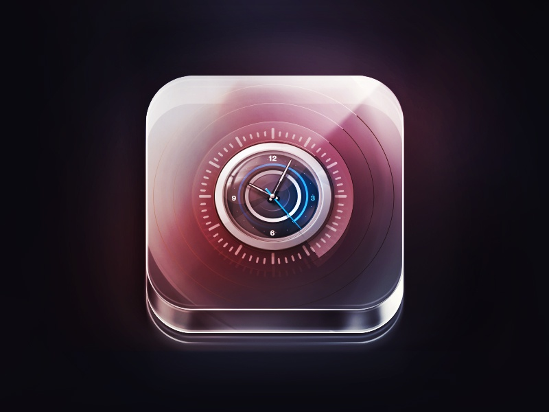Crystal Clock photoshop ios clock crystal glass icon dark light time app