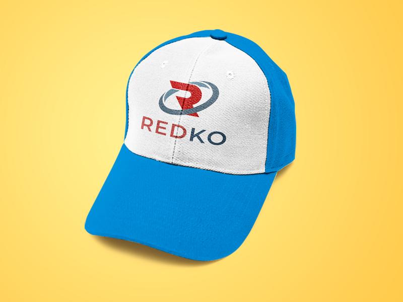 Redko logo mockup cap design identity building company icon branding symbol mark logotype design vector logo