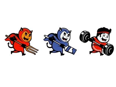 Devil may live! little devil barbell brush el diablo devil mascot logotype vector