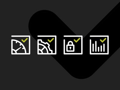 Security check icon set monitoring automate performance checkbox security icon set