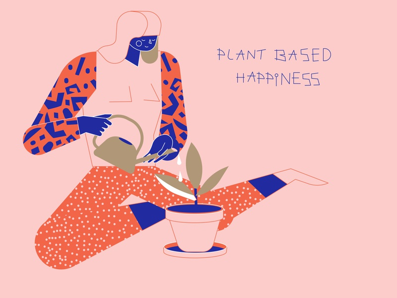 Plant based happiness motivationalquote planting plant illustration character design loretaisac illustration