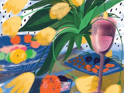 Still life brushes stilllife flowers botanical illustration illustration