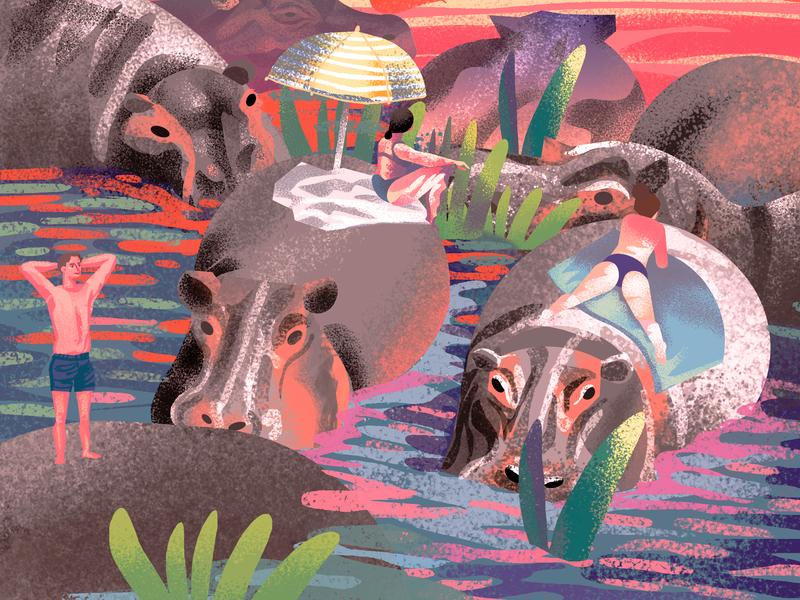 Hippos 2d summer beach summertime hippos loretaisac illustration