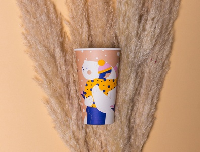 Coffee cup hug bear winter character design loretaisac illustration coffee cup