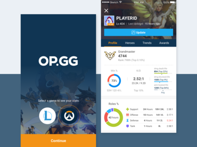 OP.GG - Overwatch hero profile trends card ui graph player stat game overwatch