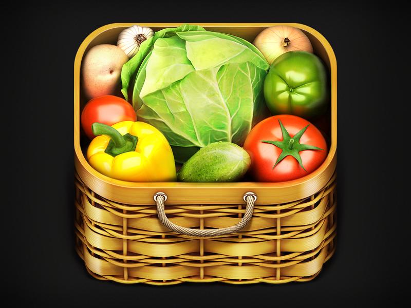Vegetables Tree IOS Icon vegitable basket wood realistic 3d iphone ipad tomatoe pepper potatoe cucumber galic handle slick fresh growing plants veggy vegetables