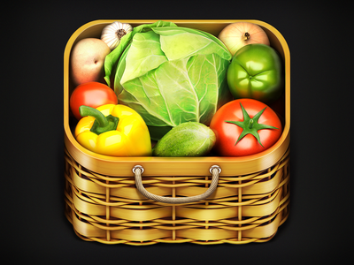 Vegetables Tree IOS Icon vegitable basket wood realistic 3d iphone ipad tomatoe pepper potatoe cucumber galic handle slick fresh growing plants veggy vegetables