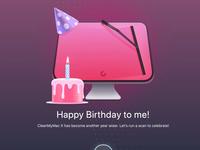 CleanMyMac X anniversary animation illustration desktop mac app icon smoke fire birthday cake animation birthday macpaw cmm cmmx