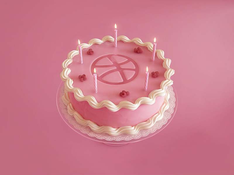 3D Birthday cake for Dribbble 5 Years cake dribbble anniversary 3d 3d max birthday vray candles pink cream