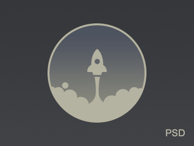 Rocket Icon Freebie PSD By Alex Pronsky flat illustration icon free psd source photoshop download vintage hipster sky space