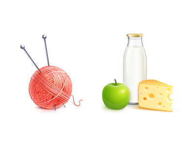 A couple of realistic 3d icons products handmade knit knitting milk apple cheese