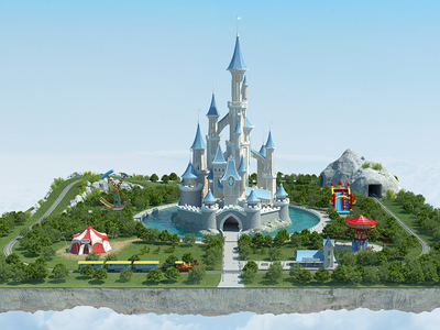 Landscape with Castle  3D Visualisation cg computer graphics render park train circus realistic 3d max vray illustration