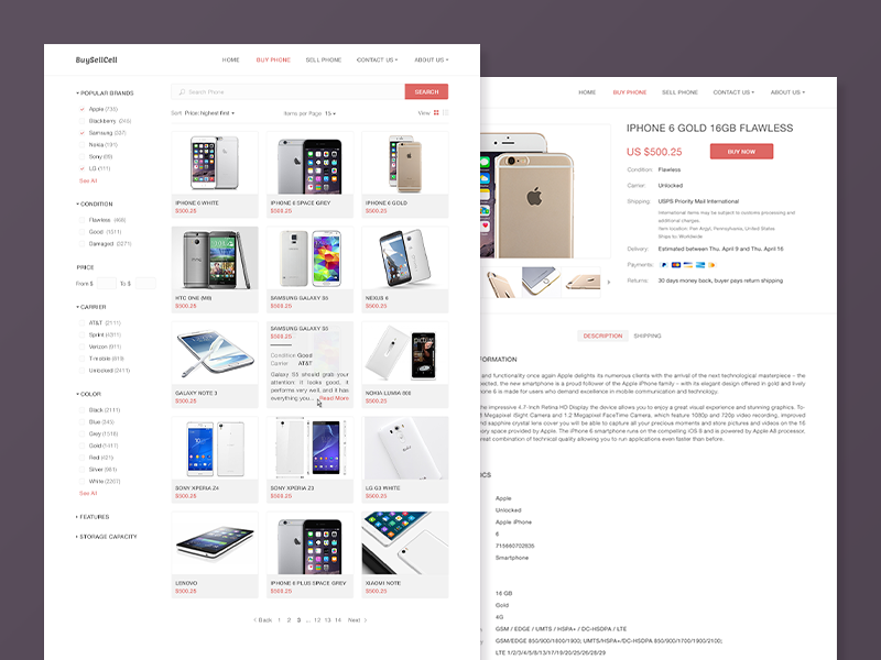 Buy Sell Cell Phones Product List, Product details Web Pages clean shop cell mobile buy sell commerce flat ui interface web site