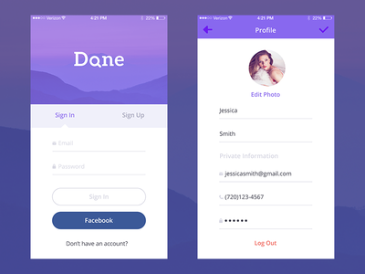 'Done' iPhone App Concept (Sign in, Profile screens) find iphone ios flat professional local login sign in ui interface ux profile