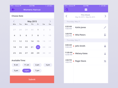 'Done' iPhone App Concept 3 more screens calendar ux interface ui time schedule local professional flat ios iphone find