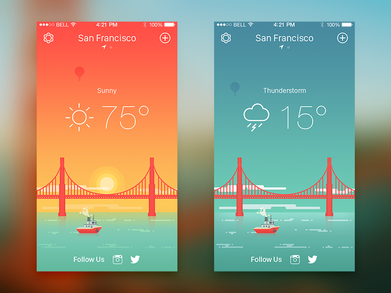 Weather iPhone App  bridge golden gate san francisco boat thunderstorm sunny sun illustration flat ios weather