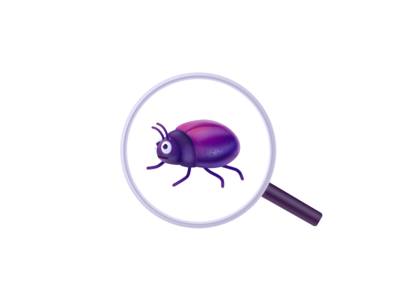 Bug illustration for CleanMyMac X beetle character scan magnifying glass search icon macpaw cmmx cmm oldschool realistic insect virus malware bug