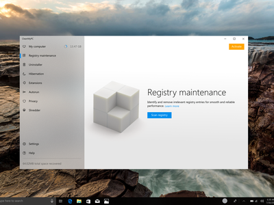 Unused CleanMyPC fluent design concept Light/Dark scheme uiux uidesign utility windows clean ui microsoft macpaw cmpc cmpc