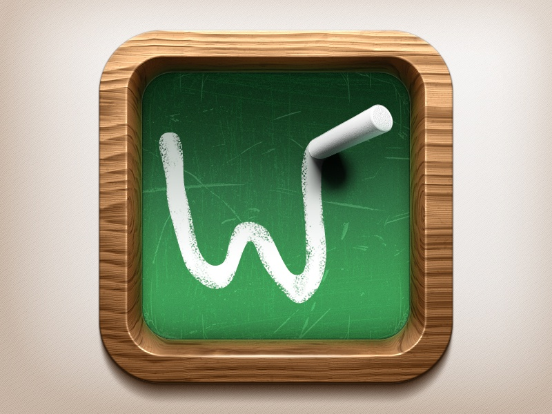 Wooden Blackboard IOS Icon wood polished wooden blackboard word game chalk piece school university 3d bevel 3 dimensional render 3d max mental ray vray photoshop procedure material